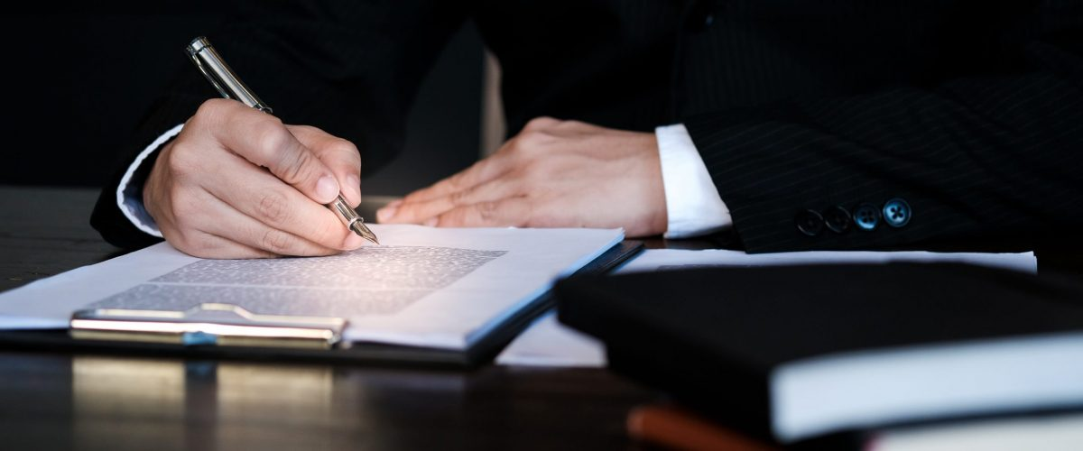 Lawyer doing paperwork